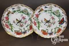 "Пара декоративных тарелок ""Цветы, птицы и бабочки"""